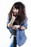 Adolescente con una guitarra Imágenes de archivo libres de regalías