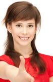 Adolescente con una mano abierta lista para el apretón de manos Imagen de archivo