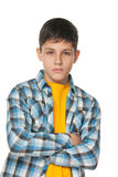 Adolescente confidente en camisa controlada Foto de archivo