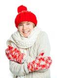 Adolescente congelado joven en estilo del invierno Foto de archivo