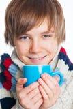 Adolescente congelado joven en estilo del invierno Fotos de archivo
