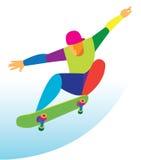 Adolescente corajoso que salta em um skate Imagem de Stock Royalty Free