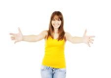 Adolescente criado encima de las manos de brazos en usted Fotografía de archivo libre de regalías