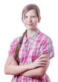 Adolescente cruzado brazos aislado Fotos de archivo
