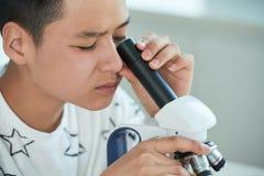 Adolescente curioso que usa el microscopio Fotografía de archivo libre de regalías