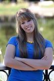 Adolescente dans le bleu Photos stock