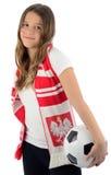 Adolescente de la belleza como un ventilador de fútbol polaco Imagen de archivo libre de regalías
