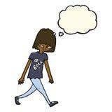 adolescente de la historieta con la burbuja del pensamiento Imagen de archivo