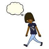 adolescente de la historieta con la burbuja del pensamiento Imágenes de archivo libres de regalías