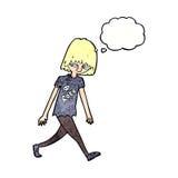 adolescente de la historieta con la burbuja del pensamiento Imagenes de archivo