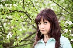 Adolescente de la muchacha contra una pera floreciente Fotografía de archivo