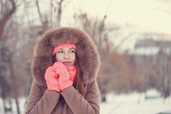 Adolescente de la muchacha en invierno Foto de archivo