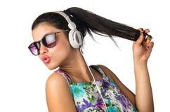 Adolescente de los auriculares Foto de archivo libre de regalías
