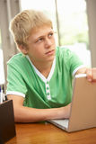 Adolescente de mirada culpable que usa la computadora portátil en el país Imágenes de archivo libres de regalías
