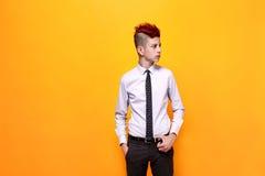 Adolescente de moda con el mohawk rojo que mira lejos Fotografía de archivo libre de regalías