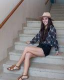 Adolescente de moda en sombrero Foto de archivo