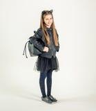 Adolescente de moda en una chaqueta negra Imagen de archivo libre de regalías