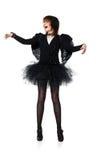Adolescente de risa en traje del ángel negro Imagen de archivo libre de regalías