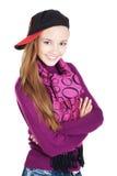 Adolescente de riso com as mãos dobradas Fotos de Stock