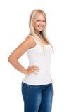 Adolescente de sourire dans le T-shirt blanc blanc Image stock