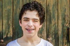 Adolescente del acné con los apoyos Fotografía de archivo