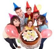 Adolescente del grupo en sombrero del partido. Imagenes de archivo