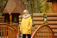 Adolescente del niño pequeño en una chaqueta amarilla en la caída Fotografía de archivo
