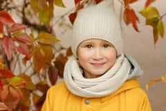 Adolescente del niño pequeño en una chaqueta amarilla en la caída, primer Fotografía de archivo libre de regalías
