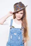 adolescente del ?ute en un sombrero Fotografía de archivo libre de regalías