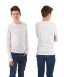 Adolescente delgado con la camisa blanca en blanco Fotos de archivo libres de regalías