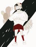 Adolescente della ragazza arrabbiato, vestito nel maglione che prude di benevolenza royalty illustrazione gratis
