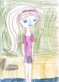 Adolescente della ragazza su una passeggiata Disegni del ` s dei bambini Immagini Stock