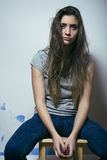 Adolescente depressioned problema con el pelo ensuciado Imagenes de archivo
