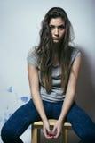 Adolescente depressioned problema con el pelo ensuciado y Foto de archivo libre de regalías