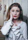Adolescente depressioned problema con el pelo ensuciado y Foto de archivo
