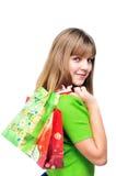 Adolescente después de hacer compras Imagen de archivo libre de regalías