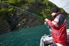 Adolescente di pesca Immagine Stock