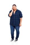 Cellulare di peso eccessivo della ragazza Immagine Stock