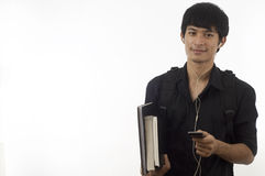 Adolescente do estudante com móbil Foto de Stock