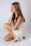 Adolescente dulce en vestido de la franja Imagen de archivo