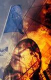 Adolescente e bandeira européia Fotografia de Stock Royalty Free