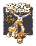 Adolescente em um skate no salto ilustração do vetor