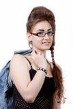 Adolescente em um vestido azul da sarja de Nimes Foto de Stock