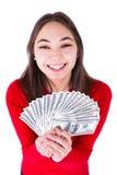 Adolescente emocionado con el dinero Imagen de archivo