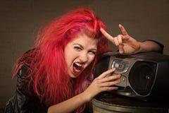 Adolescente emocionado con la radio Imágenes de archivo libres de regalías