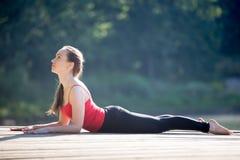 Adolescente en actitud de la yoga de la esfinge Foto de archivo