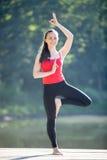 Adolescente en actitud de la yoga del árbol Imagenes de archivo