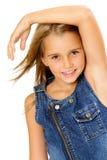 Adolescente en alineada del dril de algodón Foto de archivo