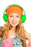 Adolescente en auriculares Fotografía de archivo libre de regalías