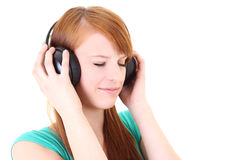 Adolescente en auriculares con los ojos cercanos Imagen de archivo libre de regalías